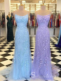 Mermaid Spaghetti Straps Prom Dresses Lilac Long Prom Dress Lace Evening Dress SED100