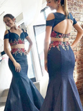 Mermaid Two Piece Prom Dresses Embroidery Dark Navy Long Prom Dress Evening Gowns #SED194 | Selinadress