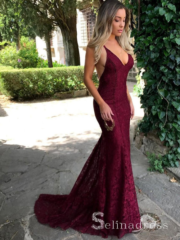 Mermiad Open Back Burgundy Prom Dresses Sexy V neck Lace Long Formal Dress SED113|Selinadress