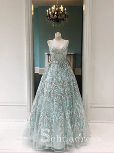 Mint Green Lace Spaghetti Straps Prom Dresses Beautiful Long Evening Dress Formal Gowns SED141|Selinadress