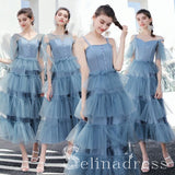 Modern Fashion Ocean Blue Bridesmaid Dresses Princess Tea-length Backless Wedding Party Dresses BRK003|Selinadress