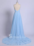 Thigh Split Sky Blue Rustic Wedding Dresses Prom Dress Beach Wedding Gown with Court Train SE009