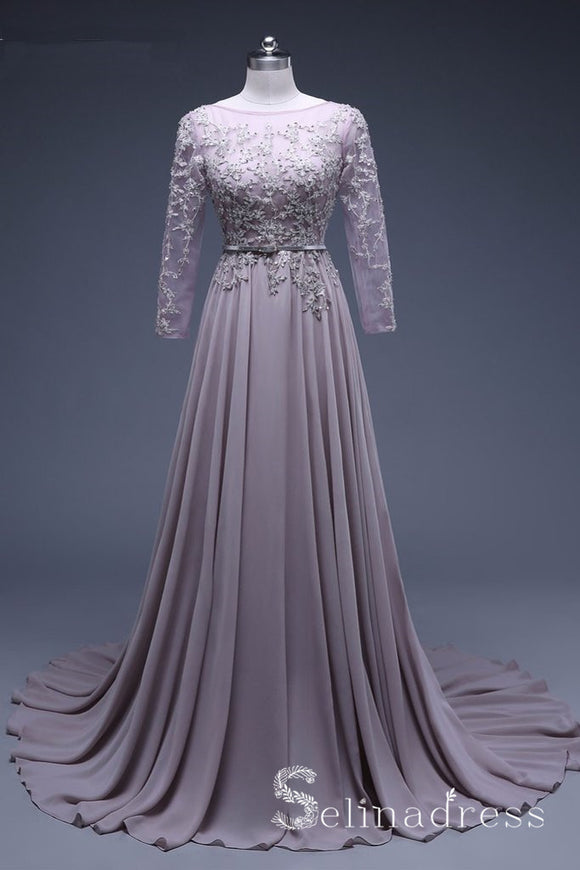 New Arrival A Line Lace Light Purple Formal Prom Dress Evening Dresses With Sleeve SED062|Selinadress
