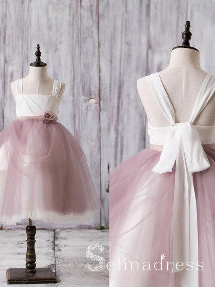 Newest Arrival Strap Dusty Rose Tulle Cute Flower Girl Dresses GRS022|Selinadress