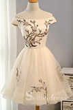 Off-the-shoulder Embroidery Homecoming Dresses Short Party Dresses MHL030