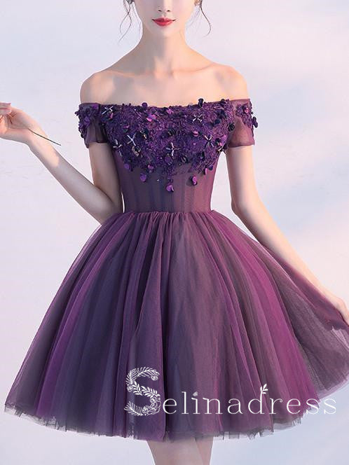 Off-the-shoulder Grape Lace Homecoming Dress Cute Short Prom Dress HML006|Selinadress