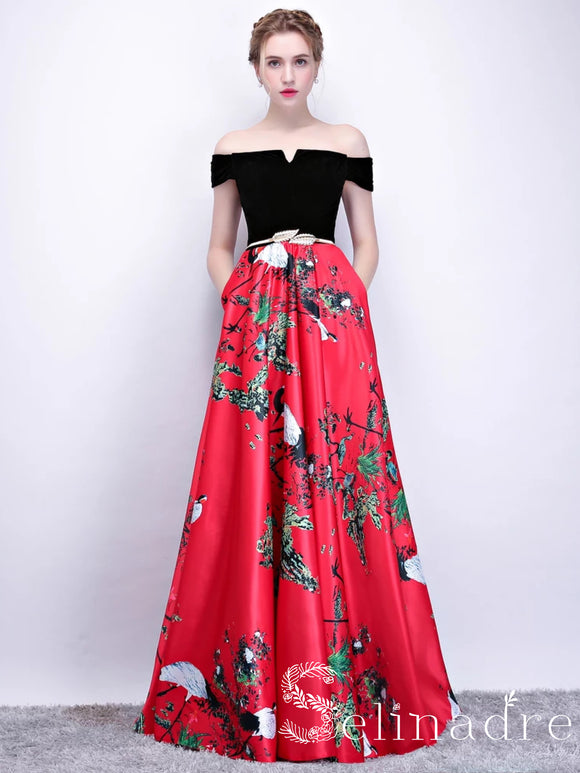 Off-the-shoulder Prom Dress Red Print Floral Satin Long Prom Dresses Evening Dress  SED101B