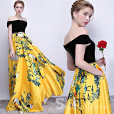 off-the-shoulder-prom-dress-yellow-print-floral-satin-long-prom-dresses-evening-dress-sed101