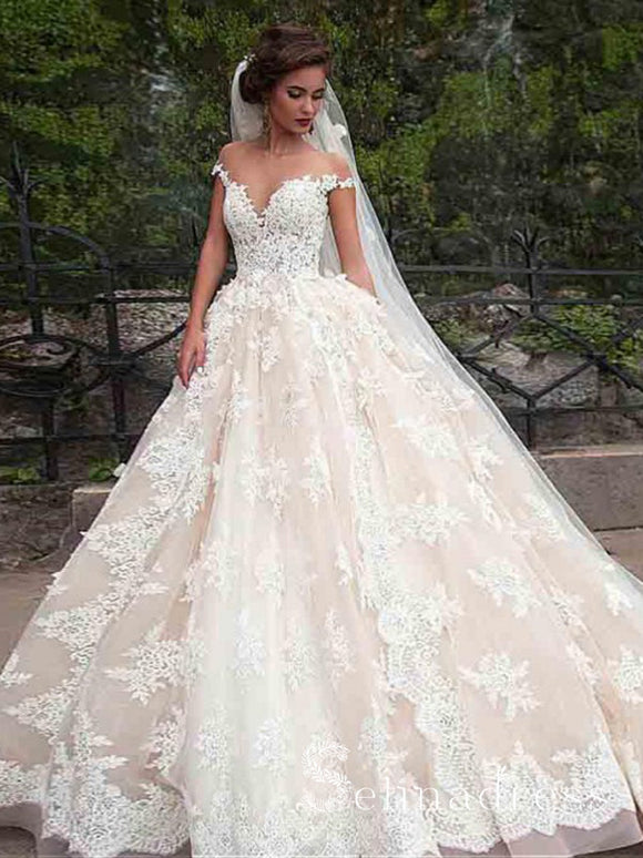 Off-the-shoulder Vintage Wedding Dresses Cheap Lace Rustic Ball Gown Bridal Gowns SEW014