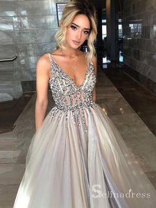 Open Back Deep V-neck Long Sparkly Slit Prom Dresses Sexy Evening Dress SED015