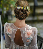 Open Back Long Sleeve Prom Dresses A-line Chic Embroidery Boho Long Prom Dress SED013