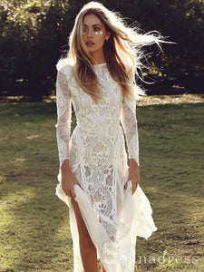 Open Back Sheath/Column Rustic Lace Wedding Dress Boho Long Sleeve Wedding Gowns SEW002|Selinadress