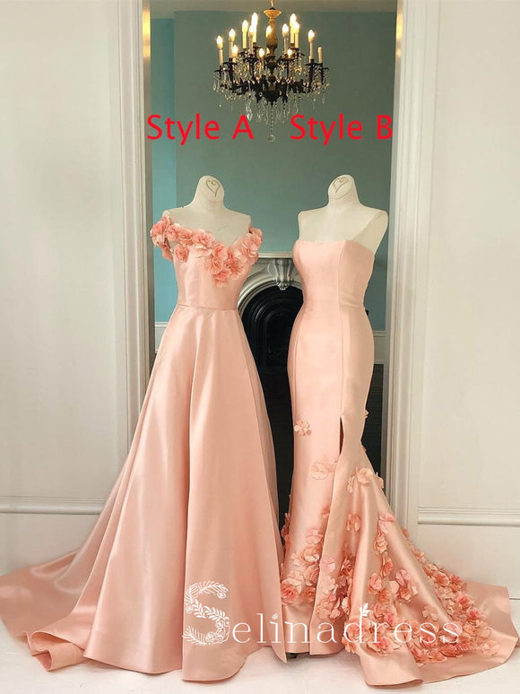 Pearl Pink Long Prom Dresses Applique Sweep/Brush Train Vintage Formal Dress Evening Gowns SED140|Selinadress