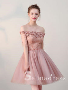 Pearl Pink Pretty Homecoming Dresses Off-the-shoulder Tulle Cheap Short Prom Dress HML001|Selinadress