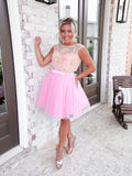 Pink A-line Cap Sleeve Cute Homecoming Dress Short Prom Dresses With Sequins MHL110