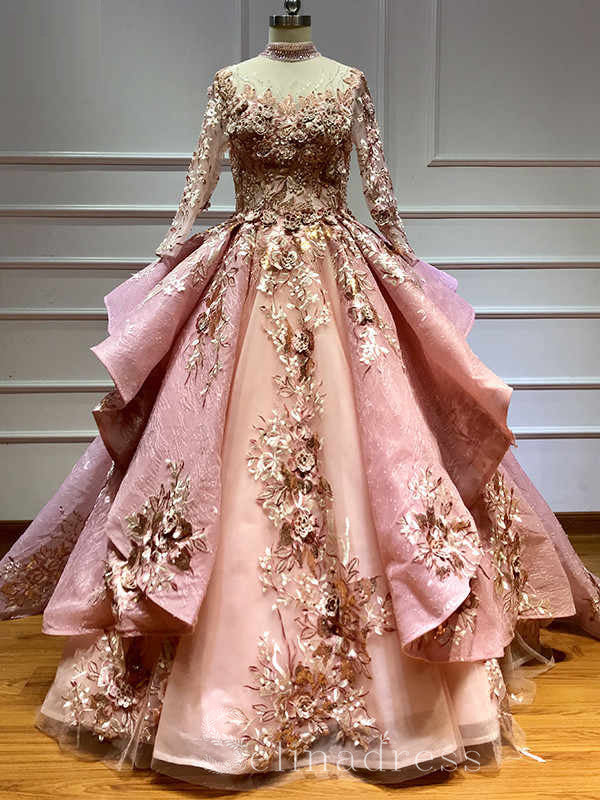 Pink Ball Gown Long Sleeve Quinceanera Dress Flowers Pearls Formal Gow Selinadress