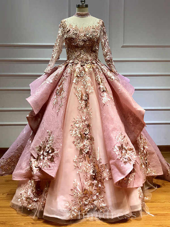 Pink Ball Gown Long Sleeve Quinceanera Dress Flowers Pearls Formal Gowns Evening Dresses #SED215