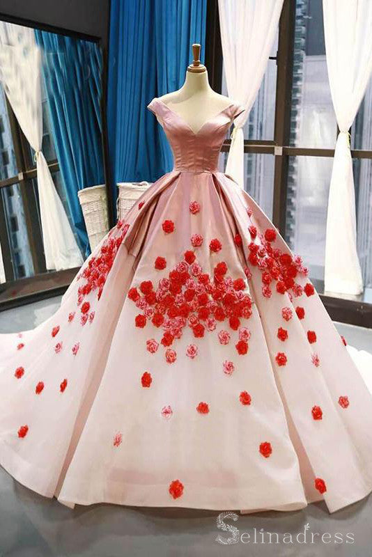 Pink Ball Gown Prom Dress Cap Sleeve V neck Prom Dress Evening Gowns #SED180