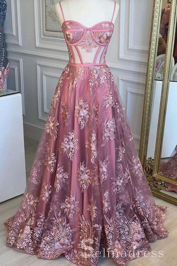 Pink Floral Lace Sweetheart Neck Tulle Long Senior Prom Dress Pink Evening Gowns SED044