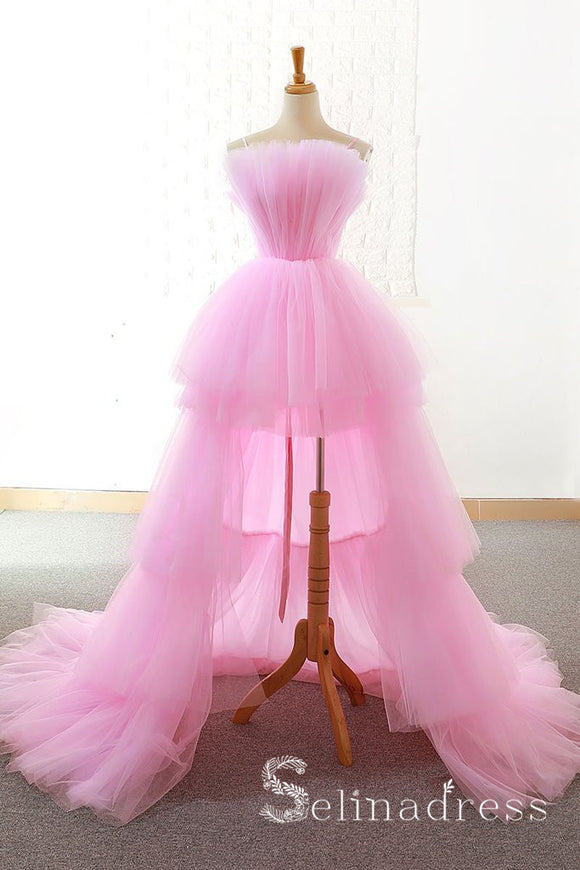 Pink High Low Prom Dress Classy Multi-layered Pink Formal Dresses Evening Gowns SED083|Selinadress