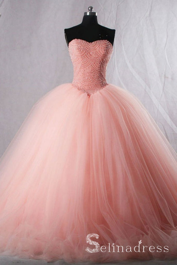 Pink Sweetheart Beaded Cute Long Prom Dresses Quinceanera Pearl Formal Evening Gowns SED041|Selinadress
