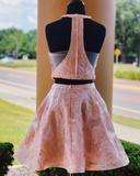 Pink  Two Piece Homecoing Dress Cute Embroidery Short Graduation Dress #MHL073