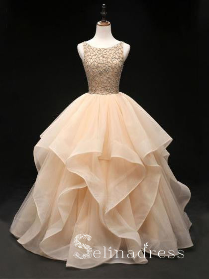 Quinceanera Ball Gowns Prom Dresses Long Open Back Bateau Unique Evening Gowns SED142|Selinadress