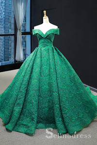 Real Picture Green Lace Sweep Train Custom Made Prom Dress Ball Gown Quinceanera Dress SED068|Selinadress
