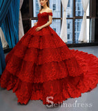 Real Picture Red Multi-layered Lace Formal Prom Dress Quinceanera Evening Dress SED069