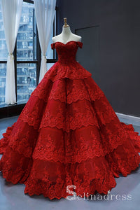 Real Picture Red Multi-layered Lace Formal Prom Dress Quinceanera Evening Dress SED069|Selinadress