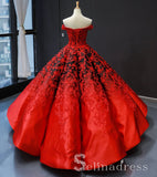 Real Picture Red Satin Off The Shoulder Appliqued Long Formal Prom Dress Ball Gown SED070