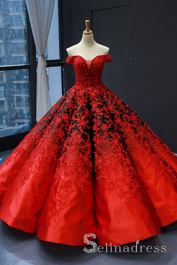 Real Picture Red Satin Off The Shoulder Appliqued Long Formal Prom Dress Ball Gown SED070|Selinadress