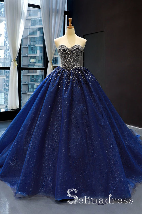 Real Picture Sweetheart Beaded Prom Dress Ball Gown Quinceanera Evening Dress SED071