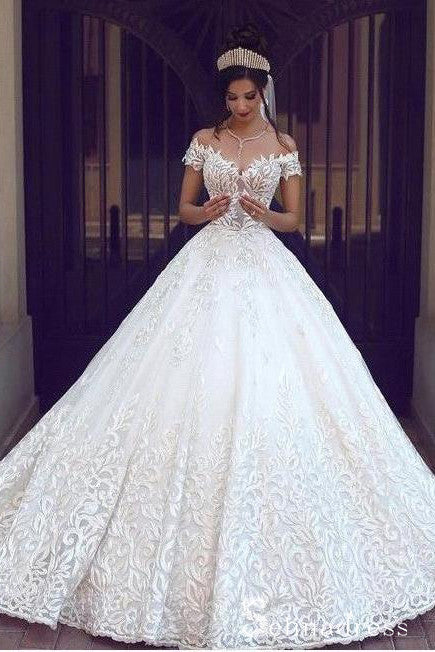Romantic Ball Gown Wedding Dresses Off-the-shoulder Bridal Gown SEW032|Selinadress