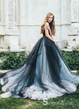 Romantic Black Wedding Dresses Modest Long Train Lace Ombre Wedding Gown SEW030|Selinadress