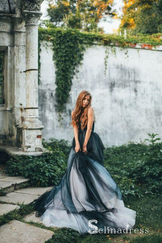 Romantic Black Wedding Dresses Modest Long Train Lace Ombre Wedding Go Selinadress