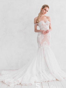 Romantic Mermaid Wedding Dresses Off-the-shoulder Cheap Lace Bridal Gown SEW024|Selinadress