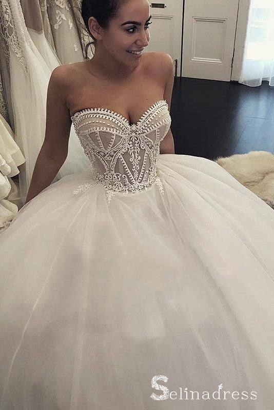 Romantic Sweetheart Wedding Dresses Ball Gown Appliques Bridal Gown SEW037|Selinadress