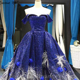 Royal Blue Off Shoulder Evening Dresses Ball Gown Sequined Formal Gown #SED210
