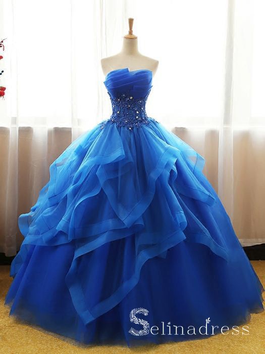 Royal Blue Strapless Lace Long Prom Dress Ball Gown Evening Dress SED109