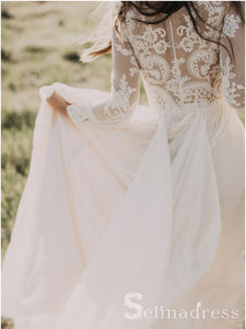 Rustic Long Sleeve Lace Wedding Dress With Lining A-line Beach Wedding Dresses SEW005|Selinadress