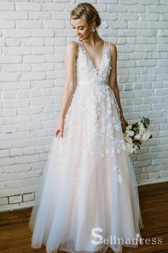 Rustic V neck Wedding Dresses Applique Lace Cheap Bridal Gown SEW023