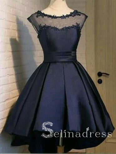 Scoop Short Prom Dresses Black Lace Graduacion Juniors Homecoming Dresses HML005|Selinadress