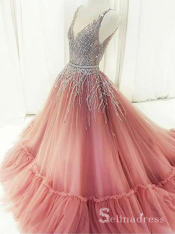 A-line Pink V neck Princess Long Prom Dress Evening Gown With Beading SED057