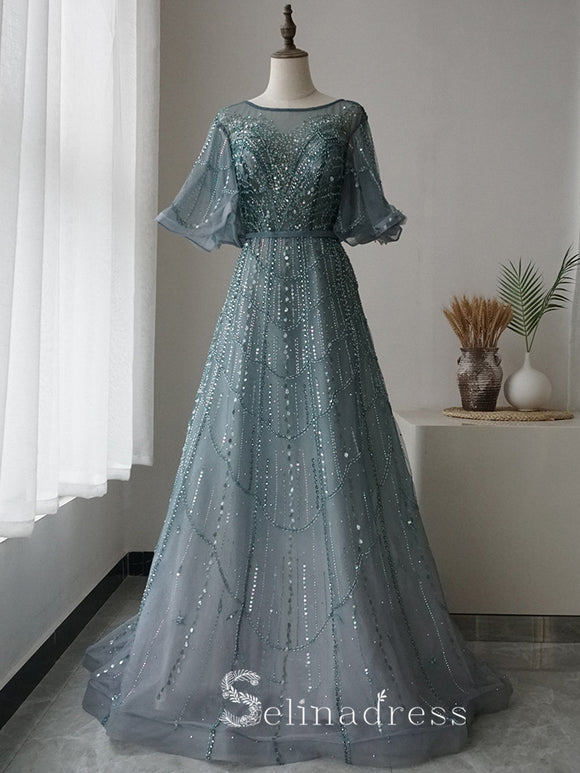 Selinadres Bateau Beaded Long Prom Dress Luxurious Evening Formal Gown SC058