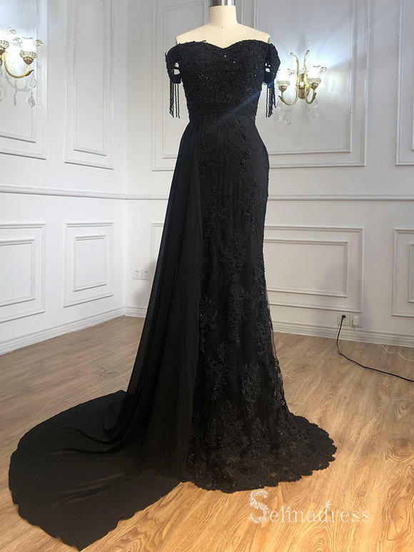 Selinadres Off-the-shoulder Lace Long Prom Dress Black Evening Gown CBD003