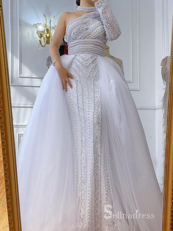 Selinadres One Shoulder Beaded Long Prom Dress White Evening Gown CBD004
