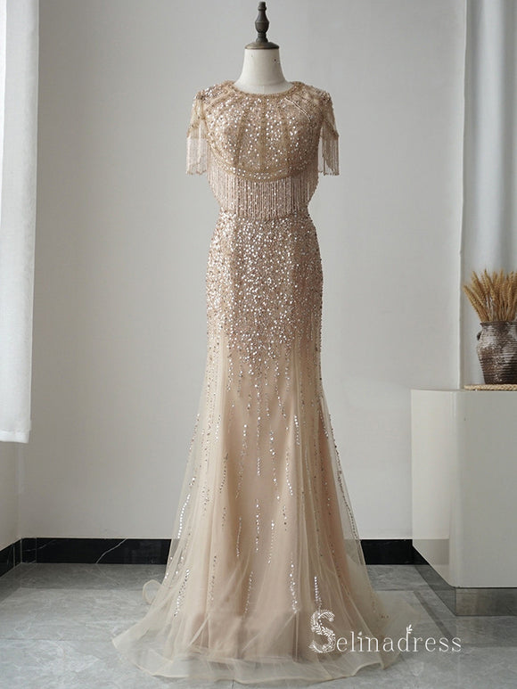 Selinadres Scoop Beaded Long Prom Dress Dubai Evening Formal Gown CBD008