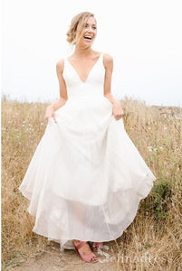 A-line Deep V neck Cheap Simple Backless White Country Wedding Dresses SEW060