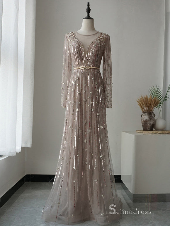 Selinadress A line Dubai Luxury Long Sleeve Rhinestone Prom Dress Formal Evening Gowns SC055